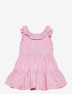 Tiered Seersucker Dress & Bloomer - robes - pink/white