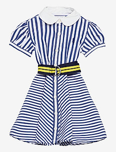 Shirtdress, Belt, & Bloomer - dresses - blue/white