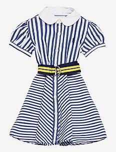 Shirtdress, Belt, & Bloomer - robes - blue/white