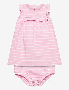 Ruffled Dress & Bloomer - jurken - carmel pink/white
