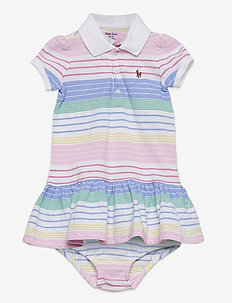 Striped Polo Dress & Bloomer - dresses - green pink multi