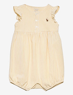 Oxford Mesh Bubble Shortall - korte mouwen - yellow/white