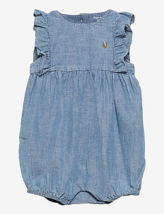 Chambray Cotton Bubble Shortall - korte mouwen - indigo