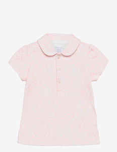 Floral Cotton Interlock Polo - polos - pink white multi