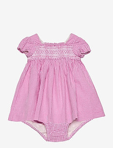 Gingham Cotton Seersucker Dress - dresses - pink/white