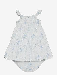 Smocked Dress & Bloomer - kleider - blue-white