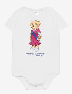 Polo Bear Cotton Bodysuit - kurzärmelig - white