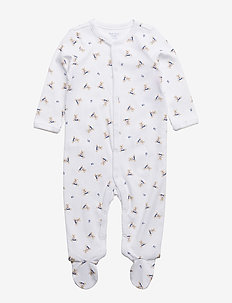 Polo Bear Cotton Coverall - long-sleeved - white/blue multi