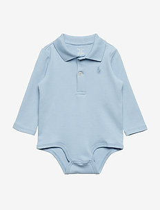 Cotton Interlock Polo Bodysuit - SHADOW BLUE