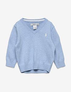 Cotton V-Neck Sweater - MEDIUM BLUE HEATH