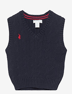 Cable-Knit Cotton Sweater Vest - bodywarmers - rl navy