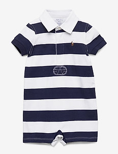 Striped Cotton Rugby Shortall - kurzärmelig - french navy multi