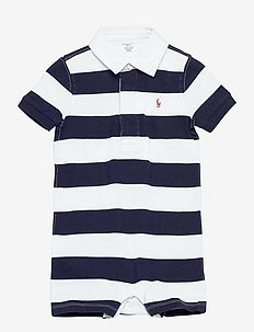 Striped Cotton Rugby Shortall - korte mouwen - french navy multi