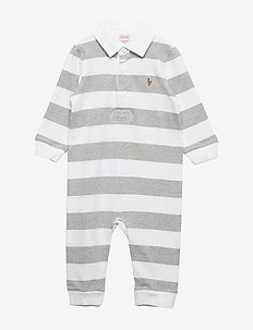 Striped Cotton Rugby Coverall - LIGHT GREY HEATHE