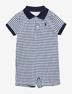 Houndstooth Cotton Shortall - NAVY MULTI