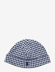 Houndstooth-Print Cotton Hat - NAVY MULTI