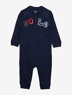 Cotton Mesh Henley Coverall - FRENCH NAVY