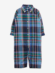 Plaid Cotton Coverall - NAVY/RED MULTI