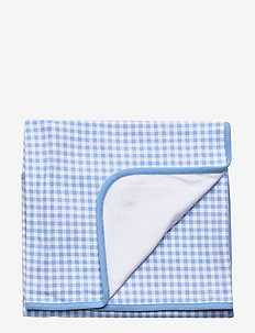 Gingham Cotton Blanket - koce i kołdry - chatham blue