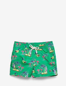 Traveler Tropical Swim Trunk - COCONUT FLAMINGOS