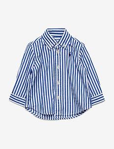 Striped Cotton Poplin Shirt - skjorter - travel blue