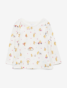 Bear-Print Cotton Top - langermede t-skjorter - white