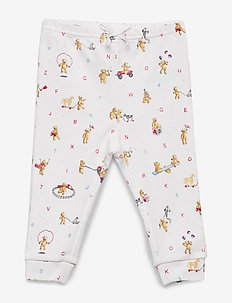 Bear-Print Cotton Pull-On Pant - WHITE