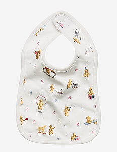 Alphabet Bear Cotton Bib - WHITE