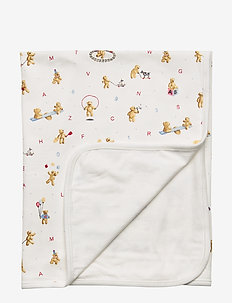 Alphabet Bear Cotton Blanket - WHITE