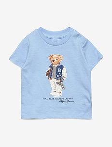 Football Bear Cotton Tee - BLUE LAGOON