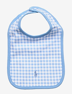 Gingham Cotton Interlock Bib - bibs - chatham blue