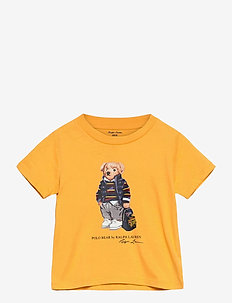 Rugby Bear Cotton Jersey Tee - short-sleeved - gold bugle