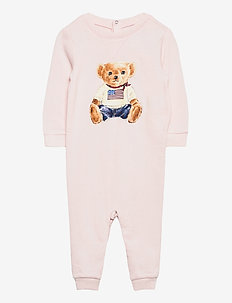 Flag Bear Terry Coverall - langermede - delicate pink