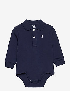 Cotton Interlock Polo Bodysuit - long-sleeved - french navy