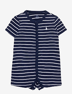 Striped Cotton Jersey Shortall - short-sleeved - french navy multi