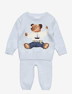 Polo Bear Sweater & Pant Set - 2-delte sæt - beryl blue