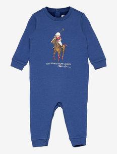 Polo Bear & Big Pony Fleece Coverall - fleece sets - blue yacht