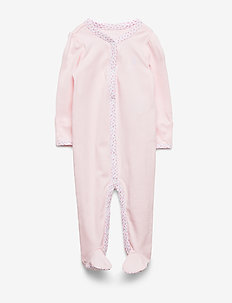 Floral-Trim Cotton Coverall - one-sie - delicate pink