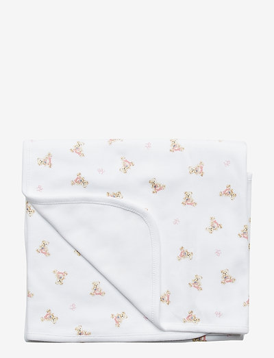 Polo Bear Cotton Blanket - blankets - white/pink/multi