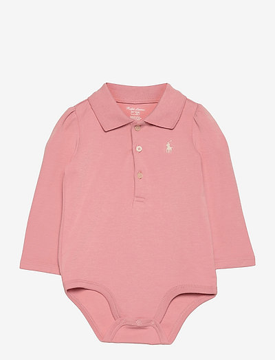 Cotton Interlock Polo Bodysuit - long-sleeved - adirondack rose