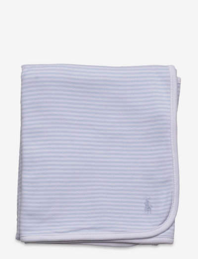 Striped Cotton Interlock Blanket - blankets - beryl blue/white