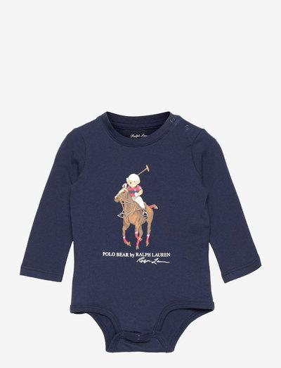 Polo Bear & Big Pony Cotton Bodysuit - long-sleeved - french navy