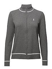 Cotton Mockneck Zip Sweater - STEEL HEATHER