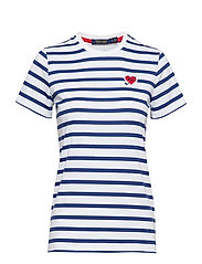 Heart-Patch Striped Golf Tee - PURE WHITE/ SPORT