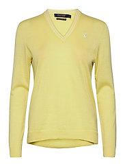 Merino Wool V-Neck Golf Sweater - BRISTOL YELLOW/PURE WHITE