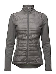 Quilted Wool Zip Jacket - GREY HEATHER