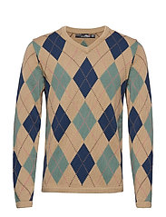 Cotton-Blend Golf Sweater - TAN ARGYLE
