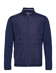RECYCLED PERF WOOL-LS FZ MOCKNECK M - FRENCH NAVY