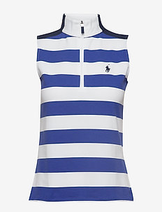 Tailored Fit Striped Golf Polo - PURE WHITE/ ROYAL