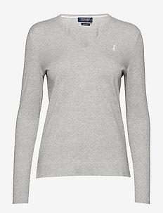 UV Cotton V-Neck Sweater - LT GREY HEATHER